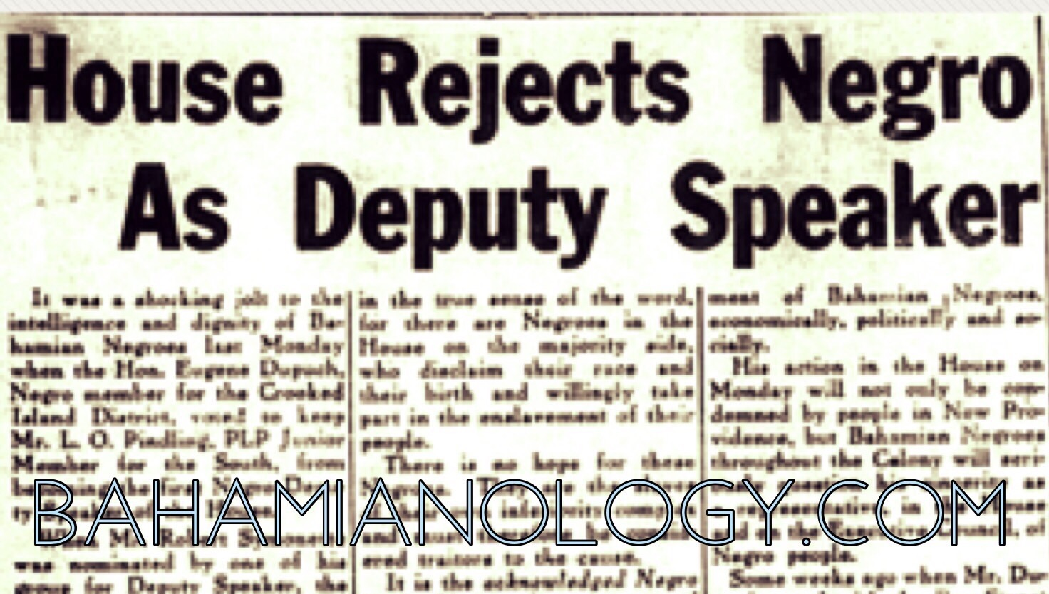 HOUSE REJECTS NEGRO AS DEPUTY SPEAKER 1958