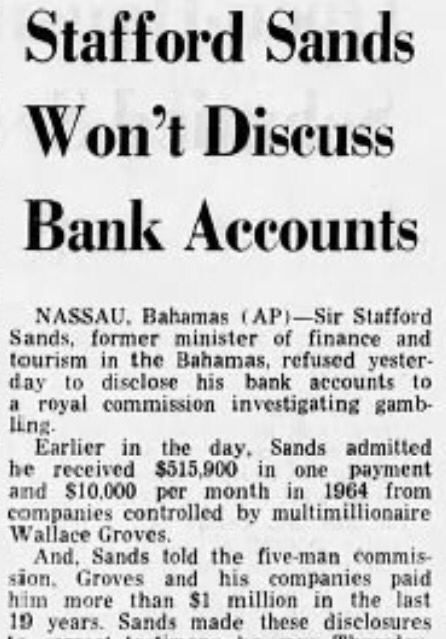 Stafford Sands Won't Discuss Bank Accounts August 1967