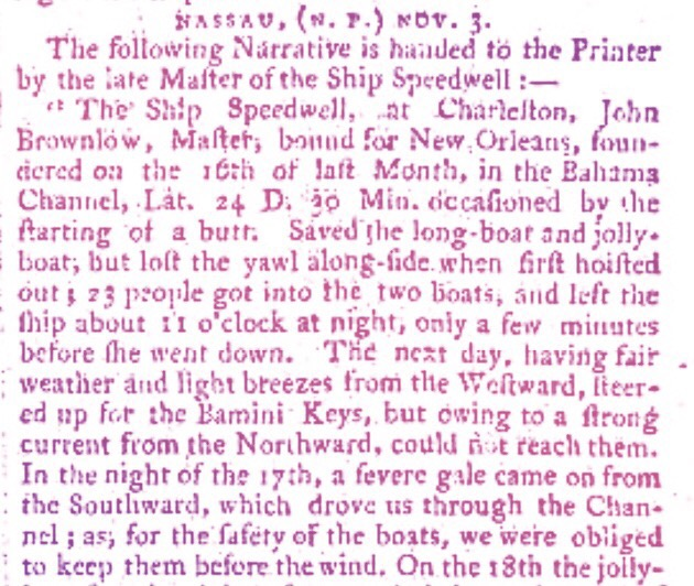 Ship lost at sea for 14 days, finds its way to Nassau 1797