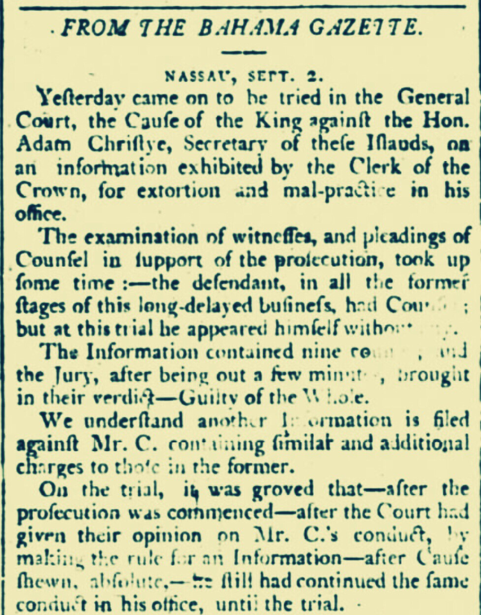 Secretary of the Bahama Islands, on trial for extortion and malpractice in Office – Nassau 1791