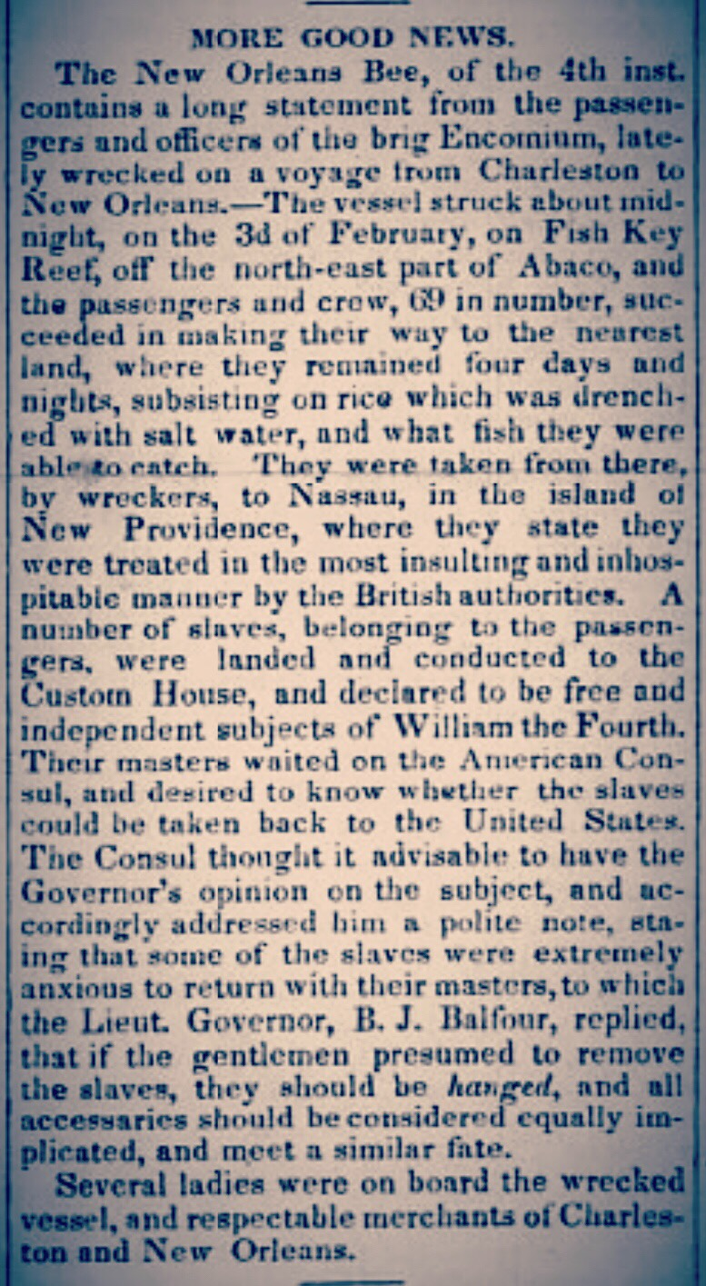 Seizure of American slaves. Governor Balfour threatens to have Americans hanged 1834 (part 1)