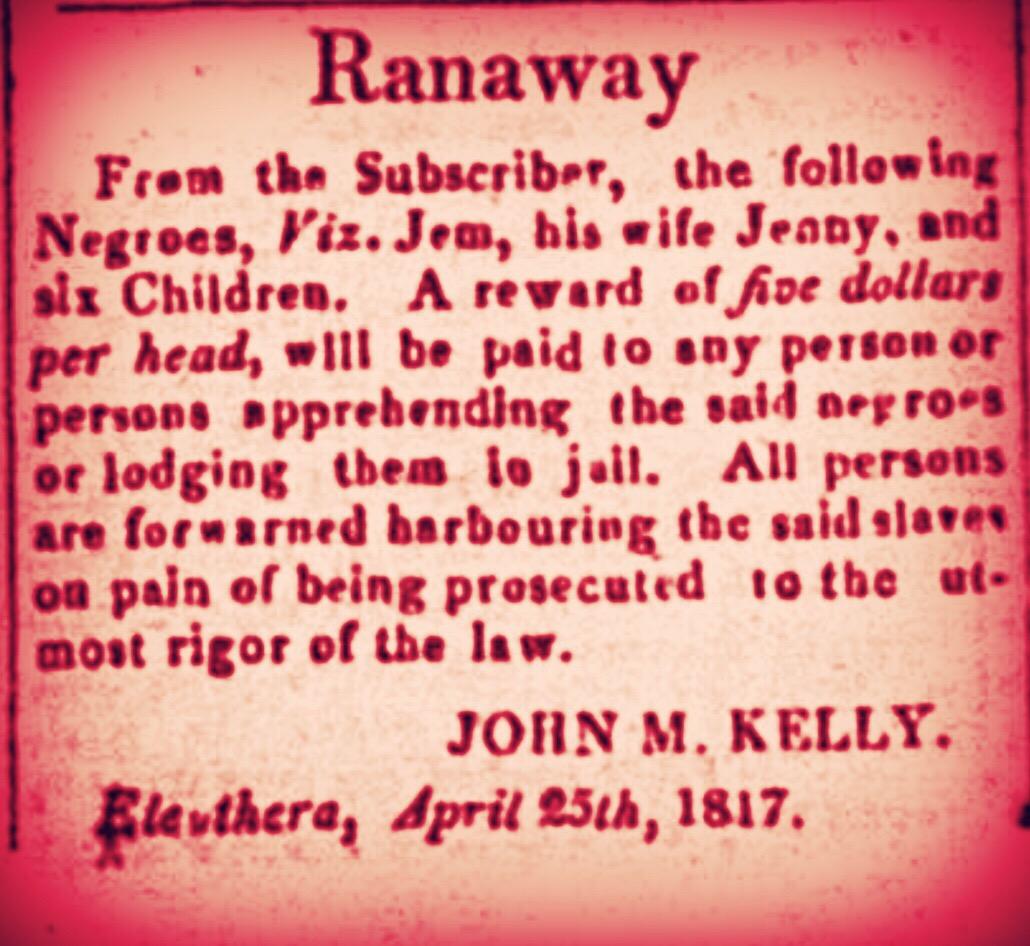 Runaway slaves Eleuthera 1817