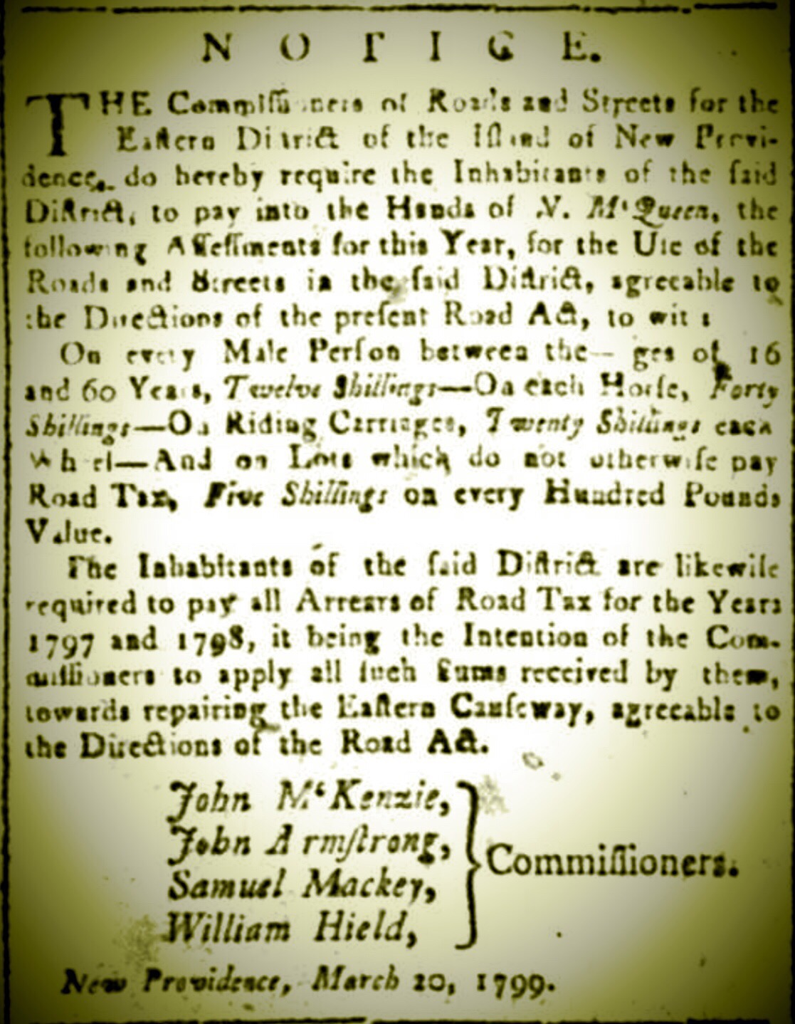 Road Tax, Eastern District, Nassau, New Providence 1799