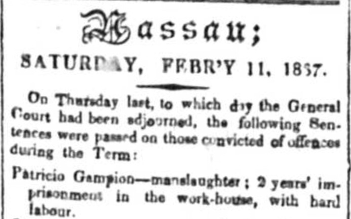 Hard labour in the workhouse – Crime, Nassau, 1837