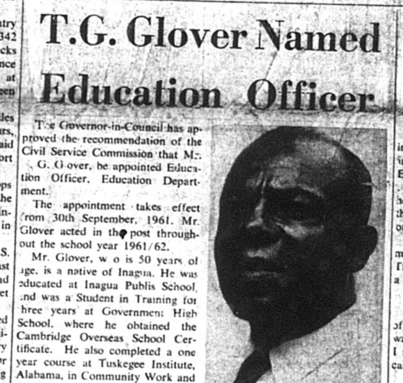 T.G. Glover Appointed Education Officer of Education Department August 1962