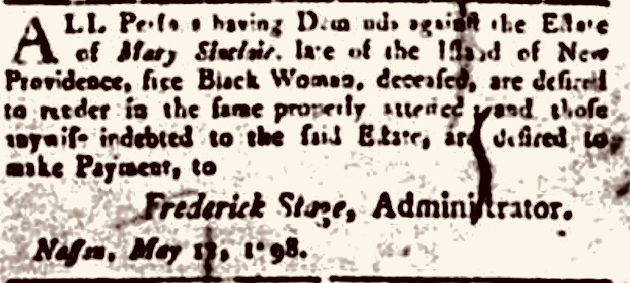 The estate administration notice of a Free Black woman 1798