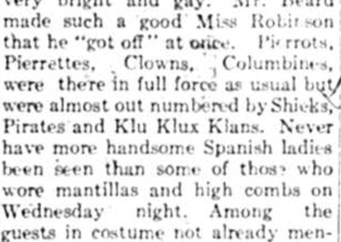 Ball at Government House 1925 – Some came dressed as the Klu Klux Klan