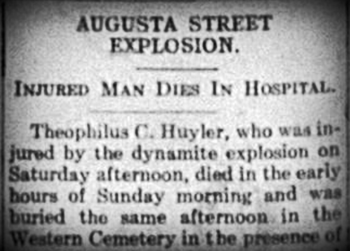 Dynamite explosion in house on Augusta Street, 1925