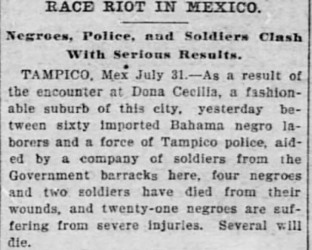 Bahamian negroes killed in riot in Mexico 1900