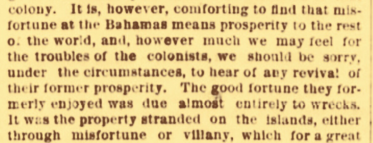 No sympathy for a near bankrupt Bahamas. July 1870