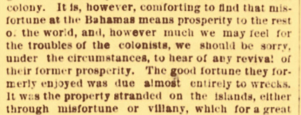 No sympathy for a near bankrupt Bahamas. July 1870