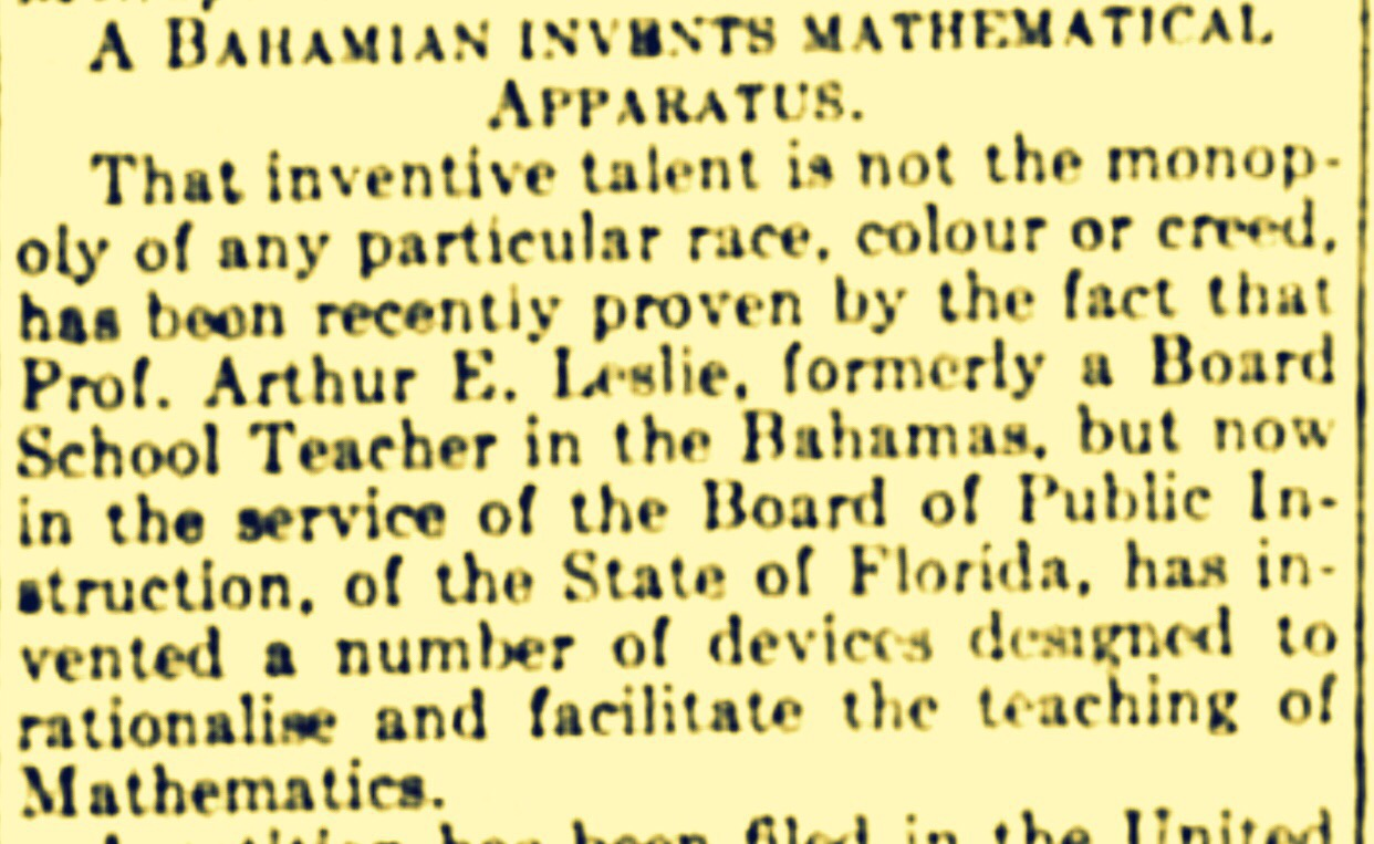 Was Arthur E. Leslie, The Bahamas' first negro mathematical genius? 1917