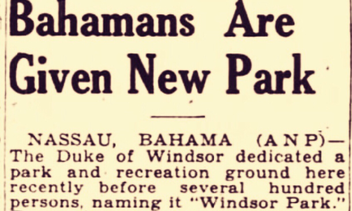 Duke of Windsor dedicates a park and names it after himself. Nassau, October 1943