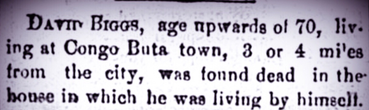 David Biggs, of Congo Buta, New Providence, died by the visitation of God 1884