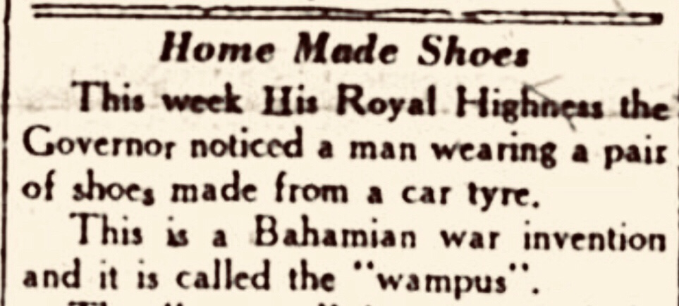 """Wampus"" Bahamian shoes  made from car tyres 1942"