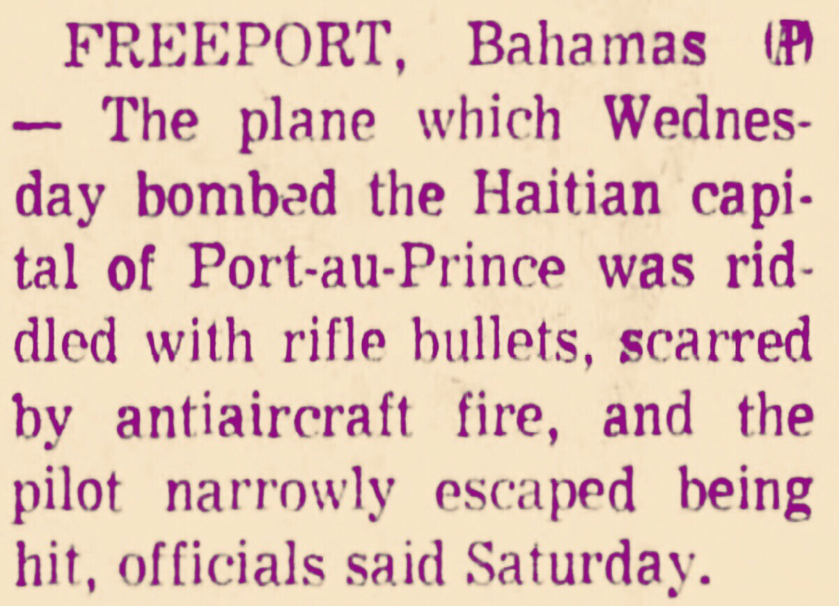 Bullet-ridden Haitian bomber lands on Grand Bahama 1969