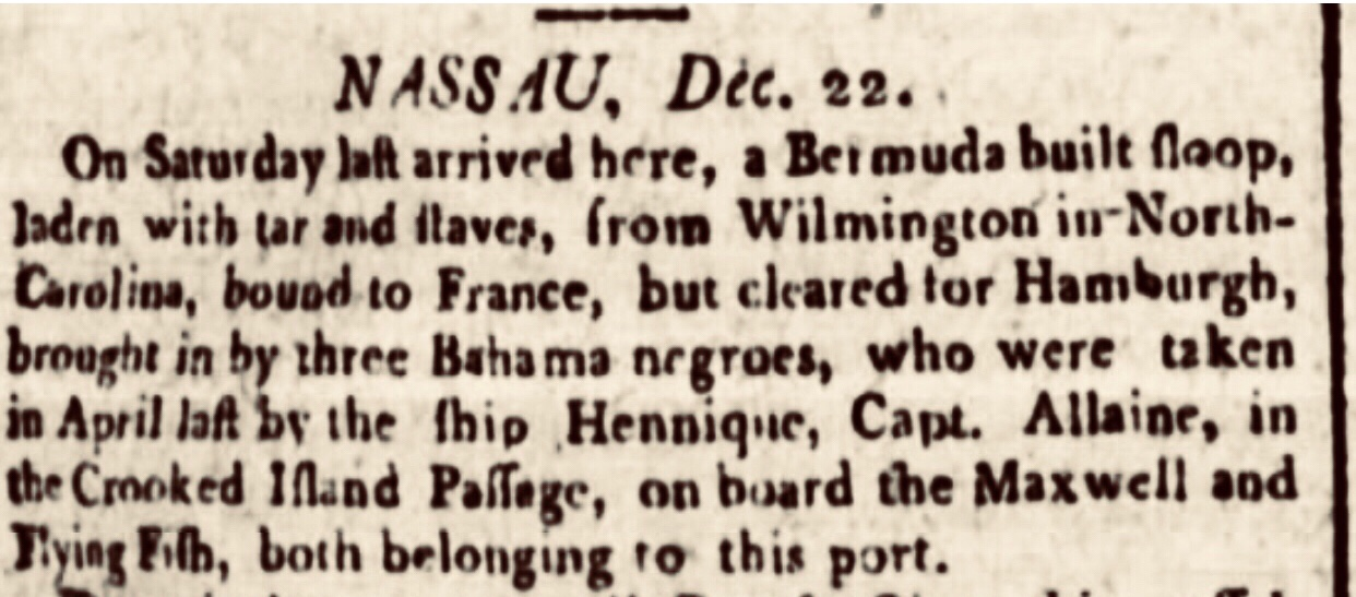 Three stolen Bahamians Throw Slaveship Captain Overboard 1795