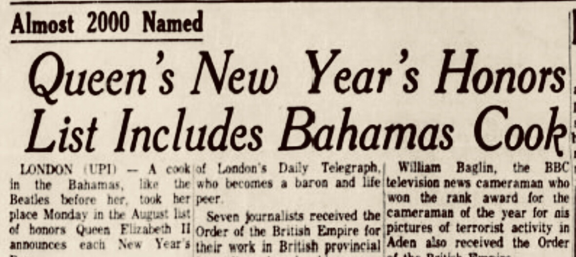 Bahamas cook included on Queen's honours list 1968