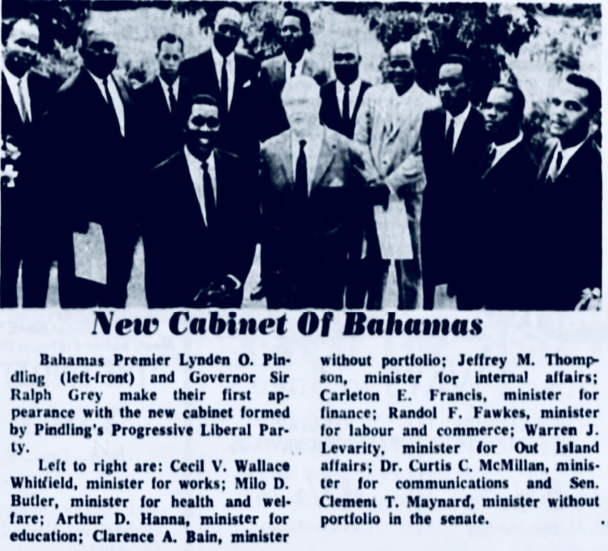 """The New Bahamian is an uncouth boor"" says UBP Cleophas Adderley 1968"