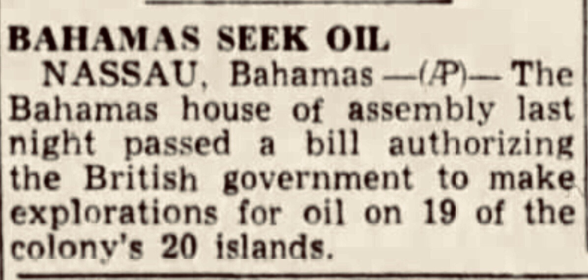 Flamingoes and Dreams become casualties in hunt for oil in Bahamas 1945
