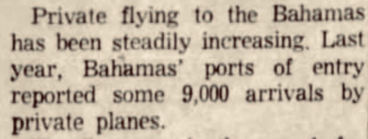 The first Bahamas Flying Treasure Hunt 1963