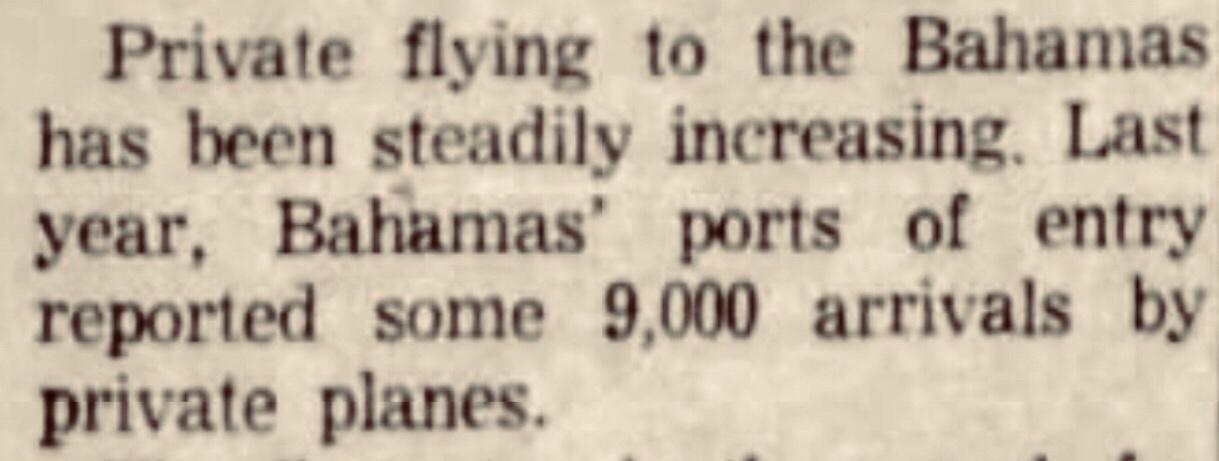 The first Bahamas Flying Treasure Hunt 1963