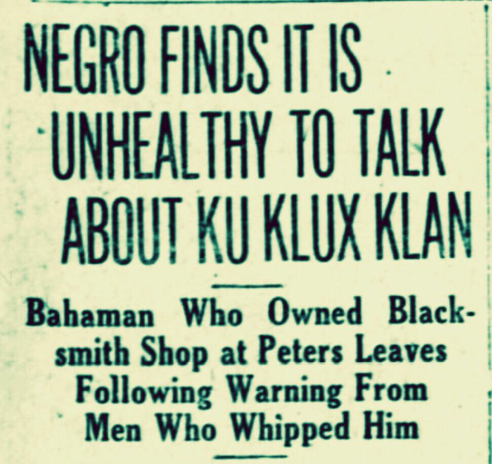 George Doty, Nassau Negro Whipped by KKK 1921