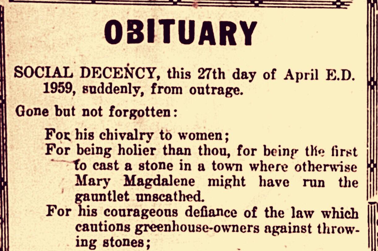 Obituary to Social Decency: A War of Words Between Newspaper Editors 1959
