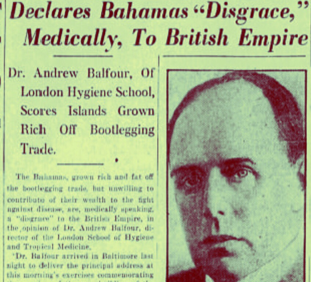 After a Difficult Year, Bahamas branded a 'disgrace' Medically to British Empire 1926
