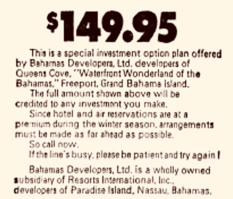 Buy a piece of Freeport for just $149.95 in 1969