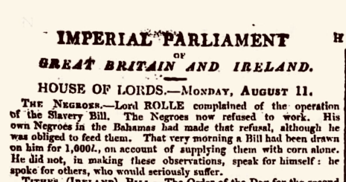 Lord Rolle Complaining About Having to Feed Slaves in Exuma 1834