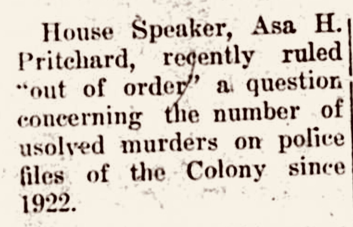 "House Speaker Asa H. Pritchard rules unsolved murder question as ""out of order"" 1959"