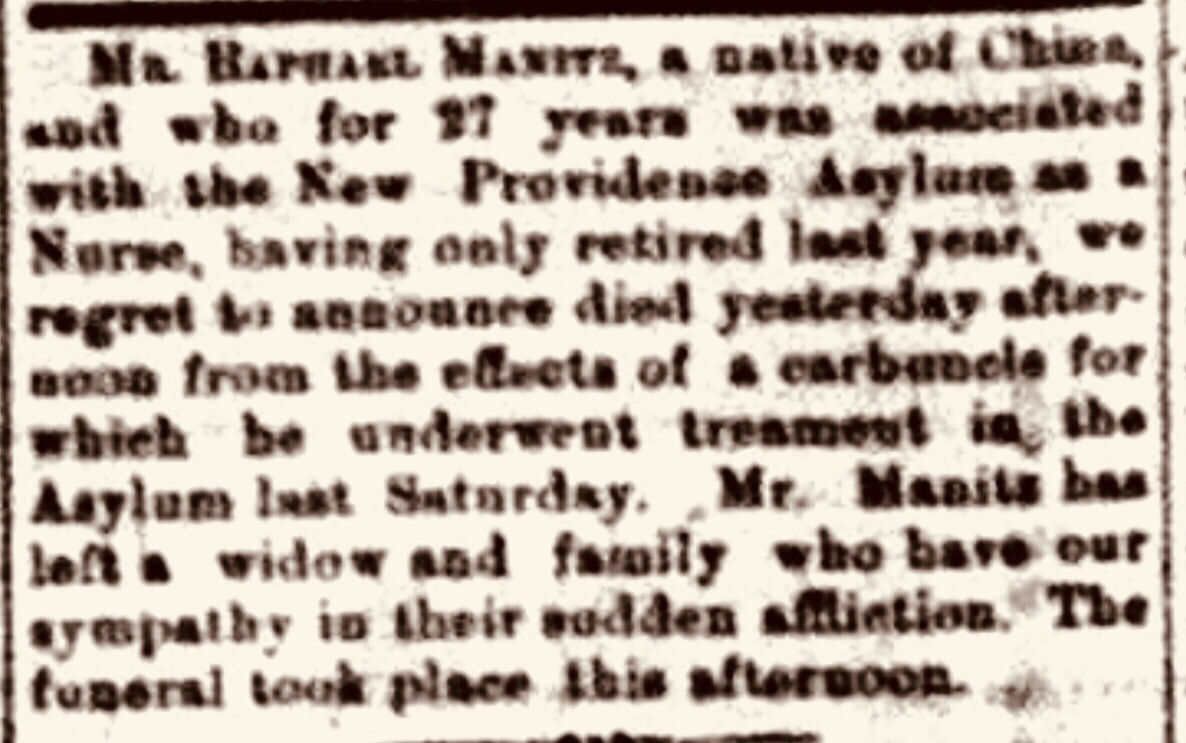 Obituary of Mr. Raphael Manitz, a Chinese Nurse, Nassau 1904