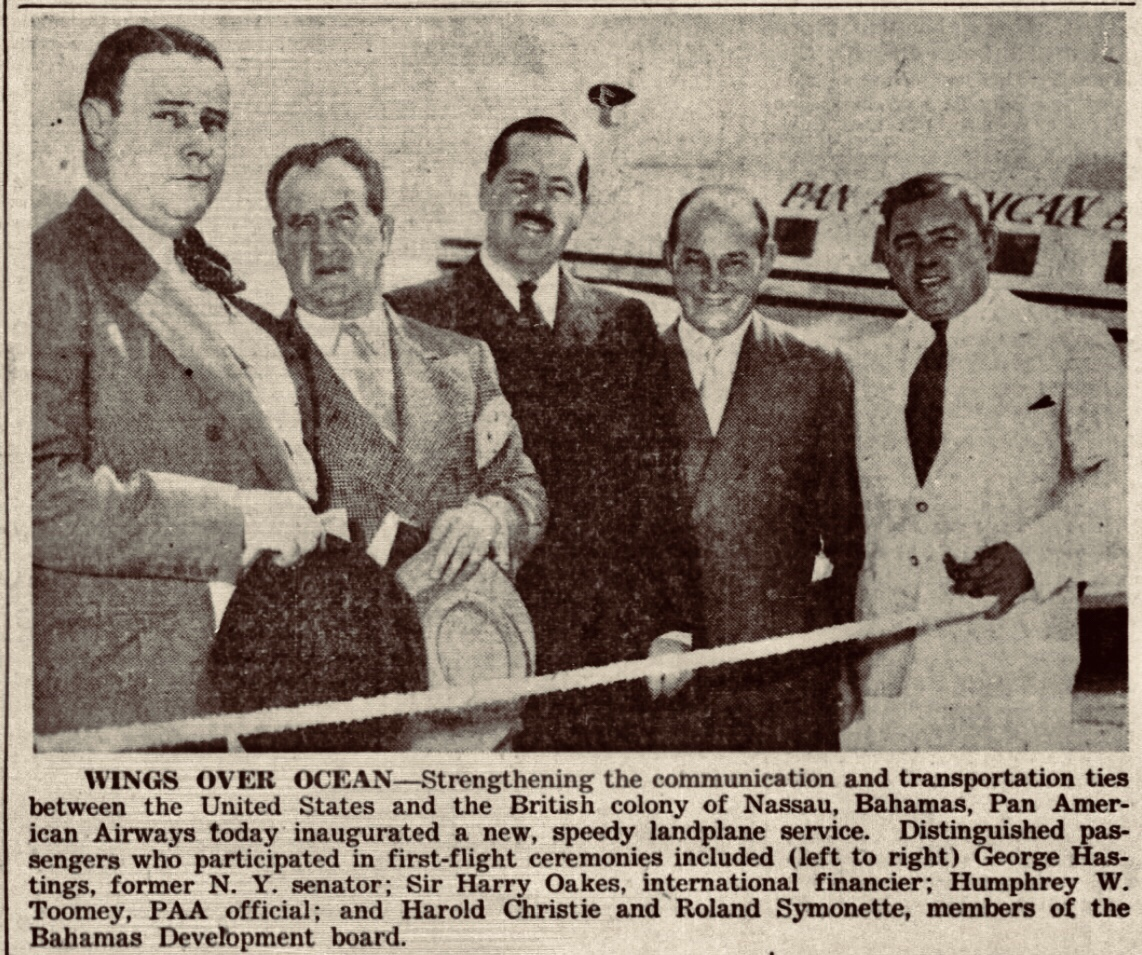 Pan American Inaugurates New Plane Service To Nassau 1941
