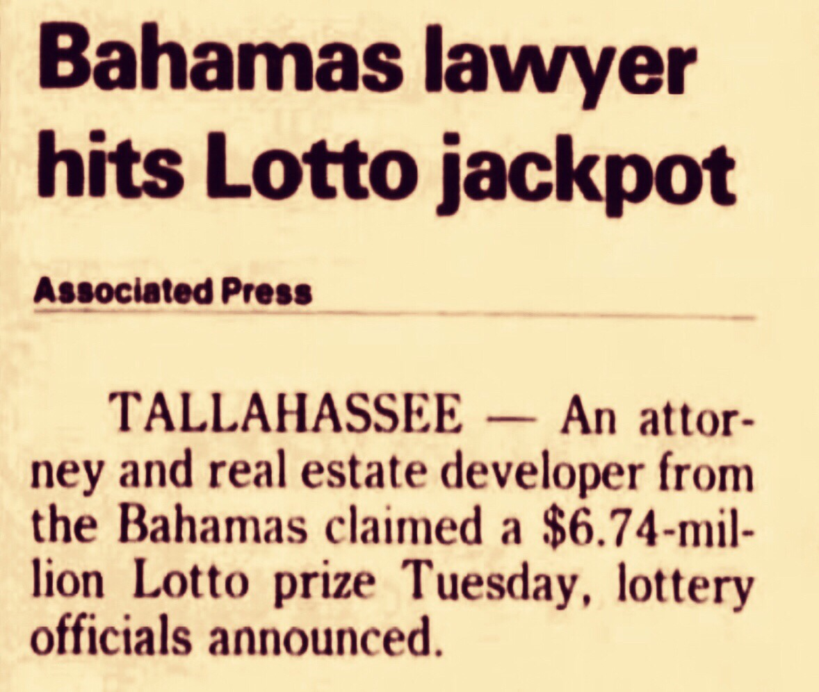 Bahamas Lawyer Wins $6.7 million in U.S. Lottery 1991