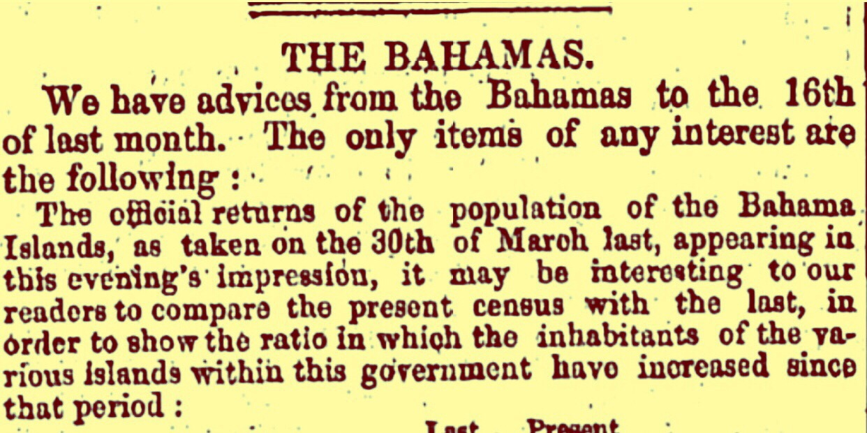 Bahamas Population 27,519 souls March 1851
