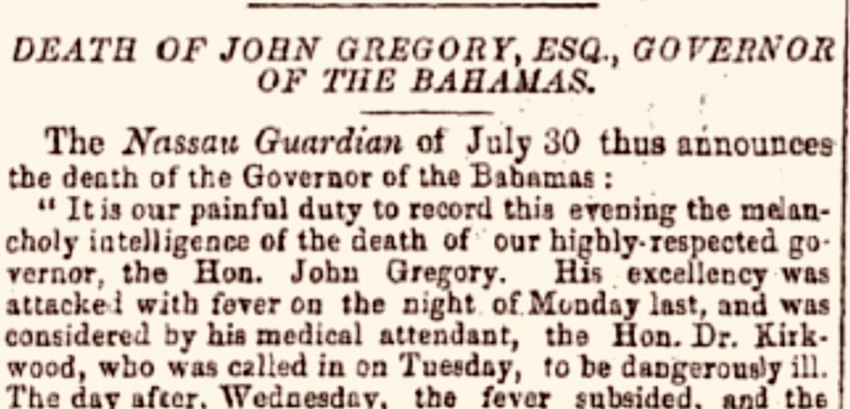 Bahamas Governor John Gregory born in Canterbury, England 1795