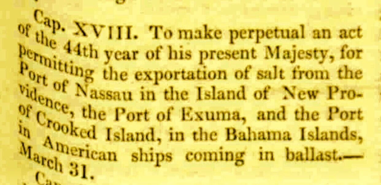 Armed White Men and Trusted Slaves Protect Salt Trade Exuma 1742