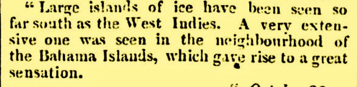 Iceberg seen in Bahamas 1818