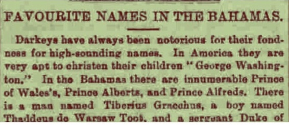 Favourite Names in the Bahamas 1888