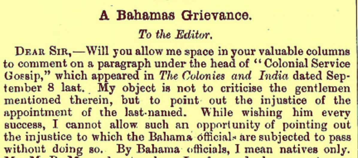 "An Early push for ""Bahamianization"" 1894"