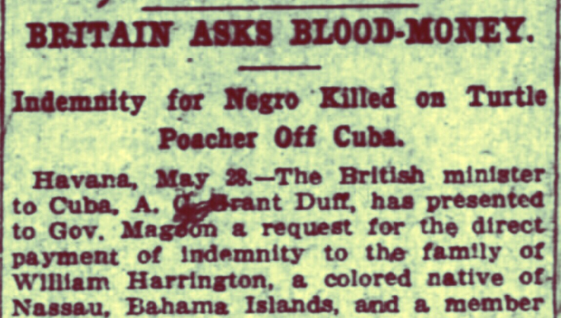 Blood Money for Bahamian Negro Killed by Cuban Cannon 1908