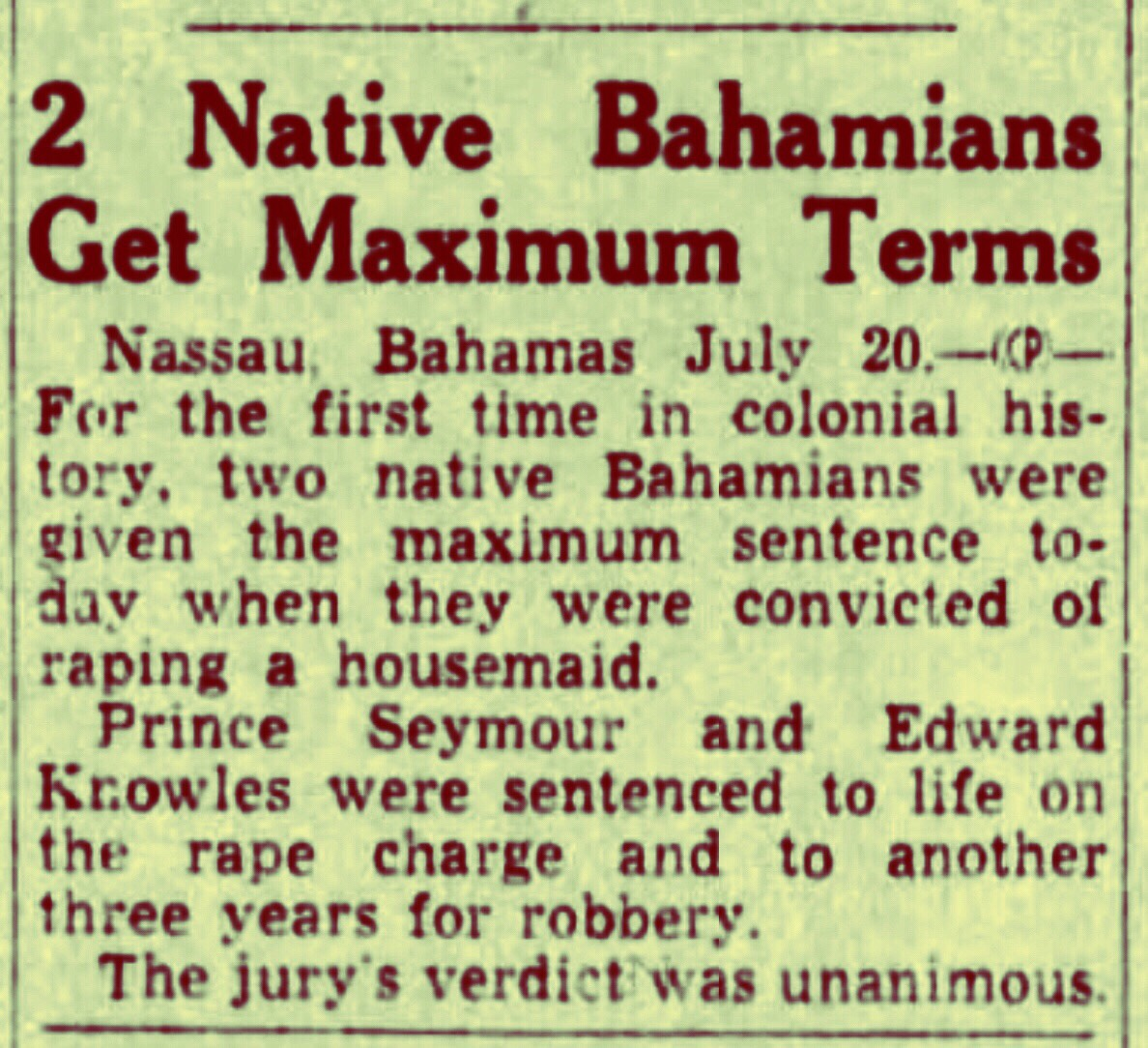 Life Sentence for Rape of White Woman plus Three Years for Robbery 1950