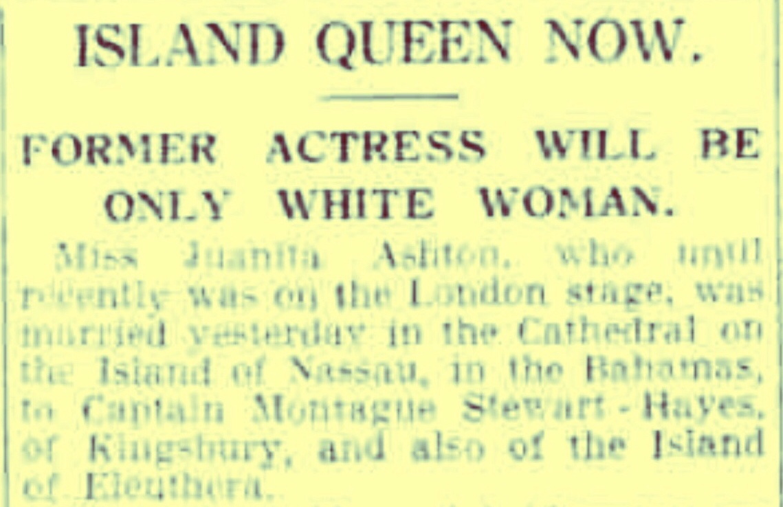 Only White Woman on Eleuthera dubbed Queen of the Island 1930