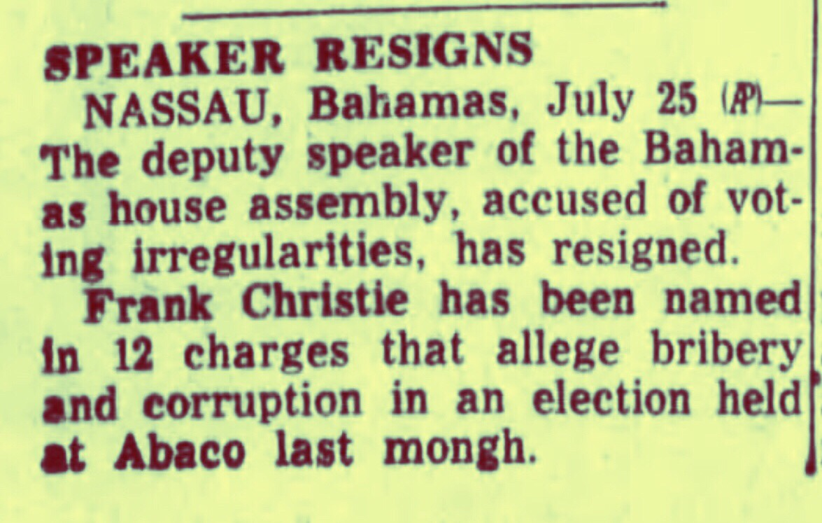 Deputy Speaker Frank Christie Resigns Over 12 Counts of Election Bribery and Corruption 1956