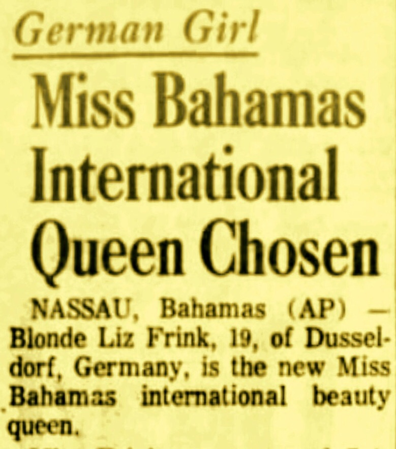 Miss Germany Wins The Miss Bahamas International Beauty Contest For The Second Time 1966
