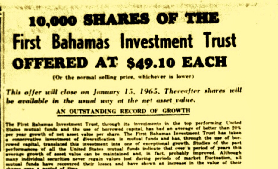 Whatever Happened to  FIRST BAHAMAS INVESTMENT TRUST OFFERING SHARES TO BAHAMIANS 1965