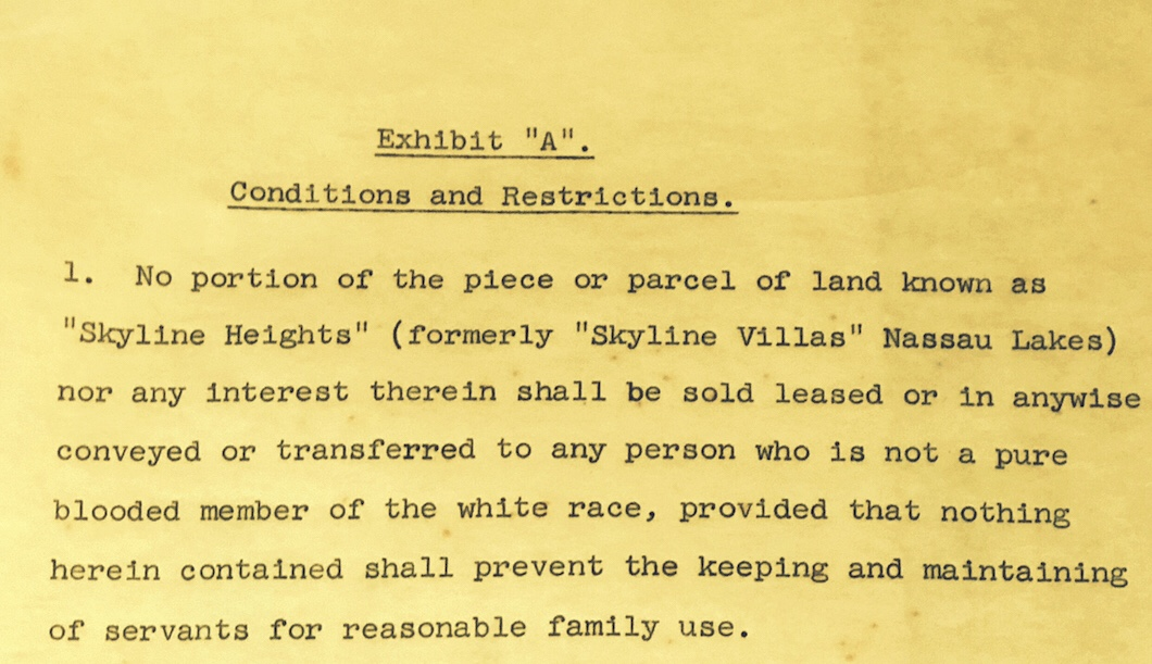 Skyline Heights, No Portion Shall Be Sold To Anyone Who Is Not of the Pure Blood White Race 1957