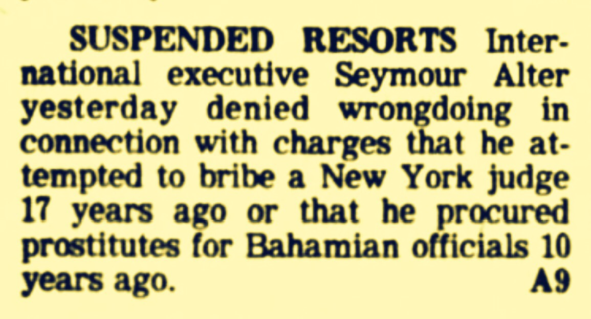Las Vegas Prostitutes For Bahamian Officials in 1969 Revealed In Gambling Licence Testimony in 1979