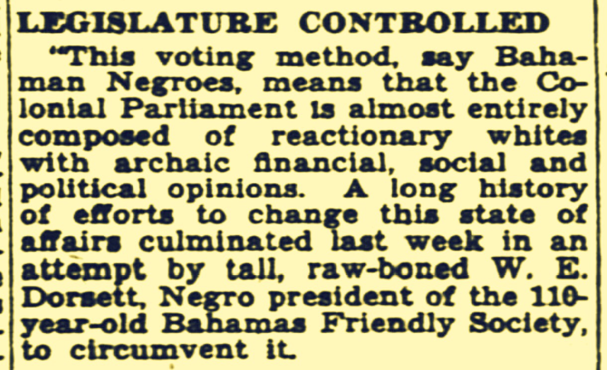 Negro Bahamas Friendly Society, Lodges and Other Societies Finance Political Movement To Circumvent Bay Street Capitalists 1944